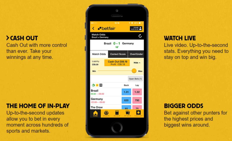 Características do aplicativo Betfair